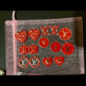 Red designer charms 14 pieces